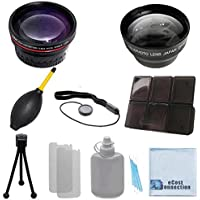 Vivitar 58mm 0.43x Wide Angle Lens + 2.2x Telephoto Lens with Deluxe Lens Accessories Kit for Olympus E-620 with 14-42 Lens & E-PM2 with 40-150mm Lens and Other Models.