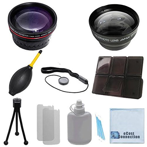 Vivitar 58mm 0.43x Wide Angle Lens + 2.2x Telephoto Lens with Deluxe Lens Accessories Kit for Samsung NX2000 with 18-55mm Lens, NX300 with 18-55mm Lens & Galaxy NX with 18-55mm Lens and Other Models. by eCost
