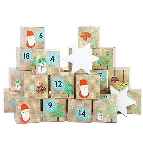 Papierdrachen Juego de cajas para calendario de Adviento DIY - 24 cajas de colores para exponer y rellenar - 24 cajas - Santa Claus: Amazon.es: Hogar