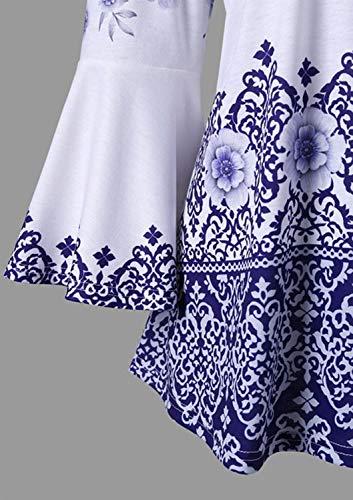 Maniche Stampa con Vintage a Collo e Donna Blue da Lunghe Gadfjuotg Floreale Camicia qY4HwSx4F