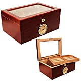 NEW CUBAN CRAFTERS PRESIDENTE CIGAR HUMIDOR - RICH CHERRY WOOD EXTERIOR, SPANISH CEDAR INTERIOR, GLASS-TOP DISPLAY, OUTSIDE HYGROMETER - HOLDS 100 CIGARS