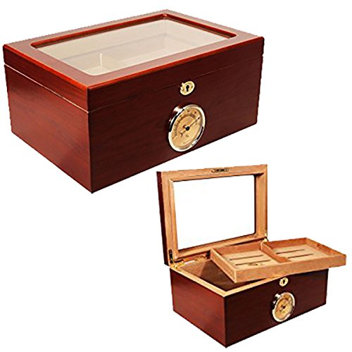 NEW CUBAN CRAFTERS PRESIDENTE CIGAR HUMIDOR - RICH CHERRY WOOD EXTERIOR, SPANISH CEDAR INTERIOR, GLASS-TOP DISPLAY, OUTSIDE HYGROMETER - HOLDS 100 CIGARS by Cuban Crafters