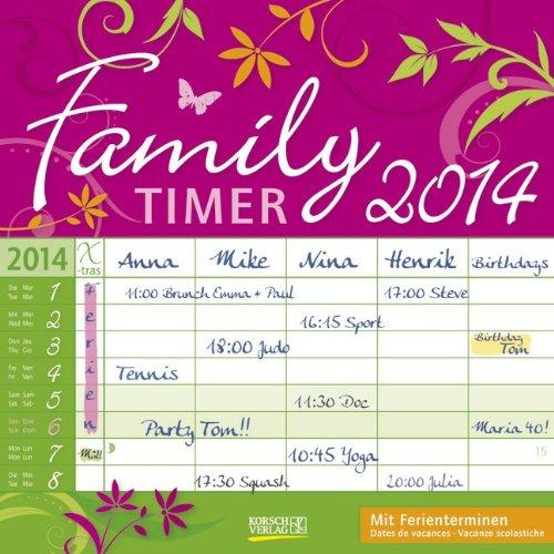 Family Timer Floral 2014 Broschürenkalender: Mit Ferienterminen