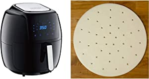 GoWISE USA 8-in-1 Digital Air Fryer with Recipe Book, 7.0-Qt, Black & USA GWA0006 Perforated Parchment Non-Stick Liners for Air Fryers, Steaming, Dumplings-100 Pcs, 9 Inches, White