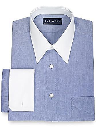 Paul fredrick men 39 s 100 cotton straight collar french Straight collar dress shirt
