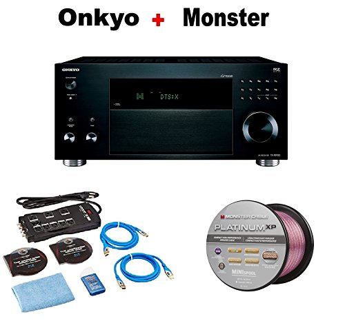 Onkyo TX-RZ920 THX-Certified 9.2 Channel Network A/V Component Receiver black + Monster Home Theater Accessory Bundle + Monster - Platinum XP 50' Compact Speaker Cable Bundle by Onkyo