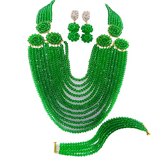 (acuzv 12 Rows Beaded Strand Necklace African Beads Jewelry Set for Brides Bridesmaids Wedding Bridal Jewelry Sets (Green))