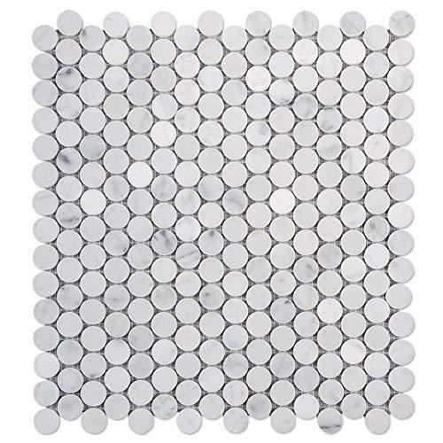 Diflart Italian White Carrara Marble Mosaic Tile Polished, 5 Sheets/Box (3/4