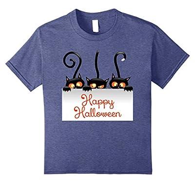 Happy Halloween 3 Black Cats Banner Cute Funny Shirt