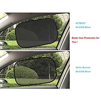Kitbest Car Window Shade (4 Pack), Car Sun Shade for Baby Auto Side Sunshade Protector Cling Sunshades for Car Window to Protect Baby Kid Pet from Sun, Glare and UV Rays: Automotive