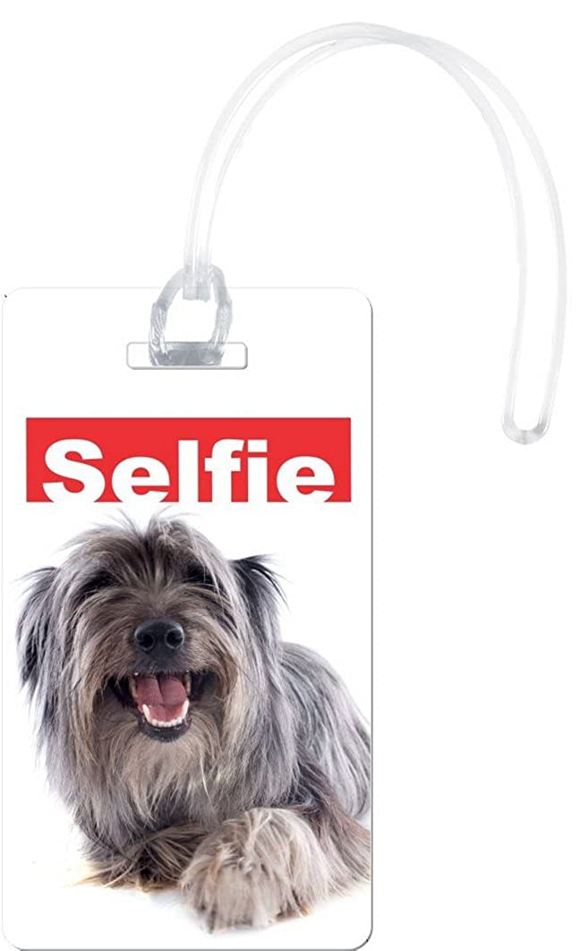 Rikki Knight自撮りGRY Pyrenean犬デザインフレキシ荷物タグ B019MR7UUO ホワイト One Size