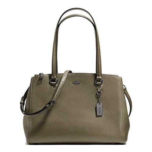 Coach Crossgrain Leather Lg Uptown Stanton Carryall Double Zip Satchel (Fog) by Coach