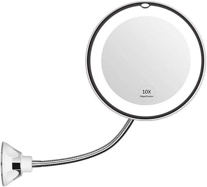 360/° Schwenkbar und Vertikal 7-Zoll LED Beleuchteter Kosmetikspiegel 10x fach Vergr/ö/ßerung Schminkspiegel mit Touch Button Einstellbar Licht Wandmontage