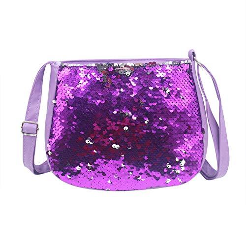 Baby Kids Sequin Crossbody Bag Mini Glitter Purse Handbag for Little Girls (Purple) ()