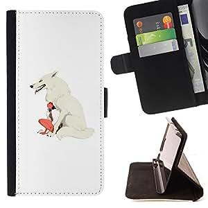 BullDog Case - FOR/LG G3 / - / WOLF WOMAN WHITE GIRL INDIAN NATIVE /- Monedero de cuero de la PU Llevar cubierta de la caja con el ID Credit Card Slots Flip funda de cuer