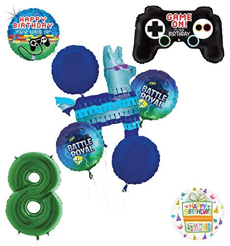 (Mayflower Products Battle Royal 8th Birthday Party Supplies Balloons Bouquet Decorations - Green Number 8)