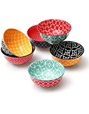 DOWAN Porcelain Small Bowls, 10 Fluid Ounces Vibrant Colors Dessert Bowls, Cute Snack Bowls for Ice Cream, Miso Soup, Side Dishes, Condiment, Microwave & Dishwasher Safe, Set of 6