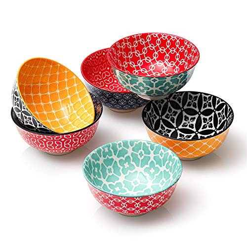 DOWAN Dessert Bowls, Set of 6, Small Porcelain Bowls 10 oz for Snacks, Rice, Condiments, Side Dishes, Dip or Ice Cream