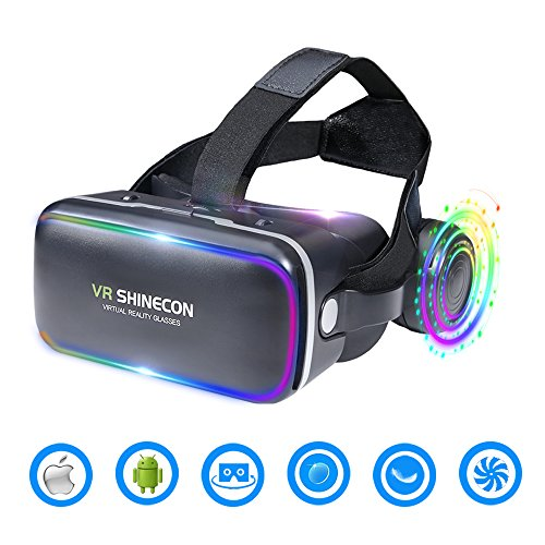 3D VR Headset Virtual Reality Glasses -for 3D Movies Video Games Comfortable VR Goggles with Stereo Adjustable Headphone Compatible with All IOS/Android Smartphones within (Stereo 3d Glasses)