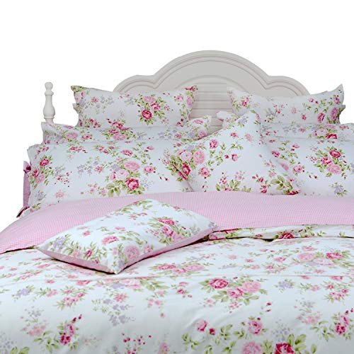 FADFAY Rose Floral Duvet Cover Set Pink Grid Cotton Girls Bedding with Hidden Zipper Closure 3 Pieces, 1duvet Cover & 2pillowcases,Queen Size