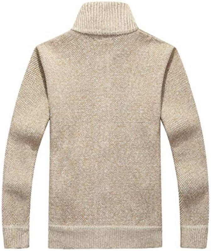 TGZZ Winter Thick Męskie Strickpullover Mantel aus weißem Langarm Cardigan Fleece Full Zip Male Plus Size Kleidung für den Herbst: Sport & Freizeit