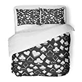 Emvency Bedding Duvet Cover Set Twin (1 Duvet Cover + 1 Pillowcase) Wonderland Suits On Black Playing Worms Bubi Christen Peaks Alice Casino Abstract Hotel Quality Wrinkle and Stain Resistant