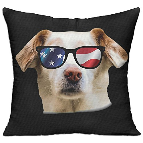 Dog With USA Flag Sunglasses Fun Cute Animal Pillowcase Personalized Cushion Cover For The Interior Decoration Of 18x18 Inches (Pillow - Sunglasses Government