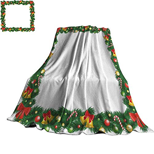 (New Year Super Soft BlanketsXmas Themed Garland with Candy Canes Ribbons Colorful Baubles and Bells Winter 60