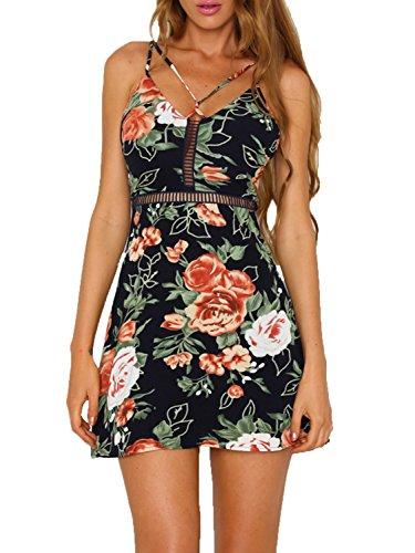 Dress Trim Criss Cross (SUNJIN ARCO Women's Print Floral Skater Waist Halter Criss Cross V Neck Adjustable Spaghetti Strap Summer Dress (Navy,0/2))