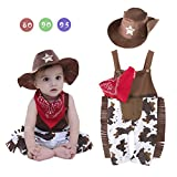 Infant Toddler Baby Boy Rompers Sheriff Cowboy Overalls, Hat and Handkerchief 3-pc