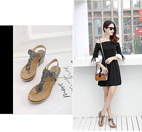 Round Tongs Sandales Bohème Peep Plage Compensées Chaussures Zonlin Gris Femmes D'été Toe p8Fw5nIqxg
