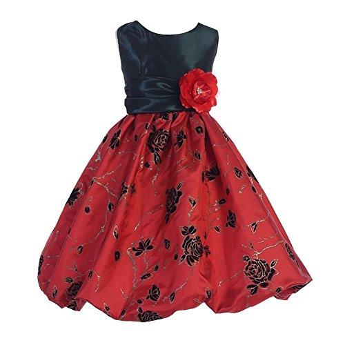 TGI Kids Big Girls Hunter Green Red Taffeta Bubble Junior Bridesmaid Dress 10 (Bubble Red Taffeta)