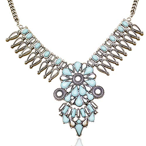 RechicGu Vintage Silver Indian Turquoise Resin Stone Zuni Navajo Necklace