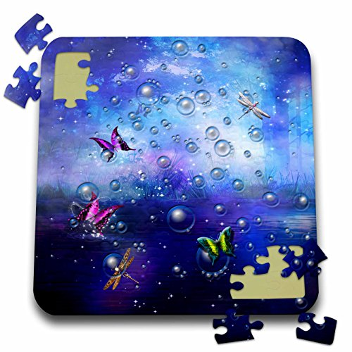Fantasy - Transparent bubbles and butterflies in purple gradient backdrop - 10x10 Inch Puzzle - Gradient Butterfly