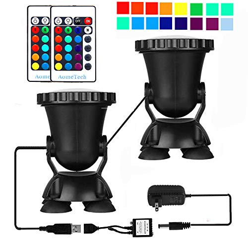 AomeTech Set of 2 Remote Control 36 LED Waterproof Submersible Lamp Underwater Aquarium Spot Light Multi-Color Decoration for Fish Tank Swimming Pool Garden Pond by AomeTech