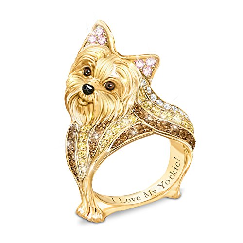 18k Gold Plated Synthetic Cubic Zirconia Best In Show Yorkie Sculpted Women's Dog Ring With Crystals: 9