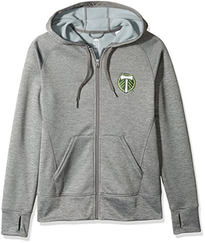 MLS Portland Timbers Women's Primary Logo Fleece Full Zip Hoodie, Medium, Gray by adidas