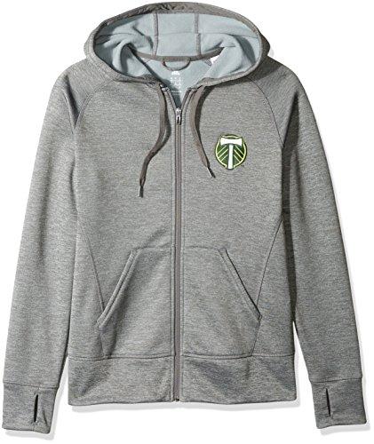 MLS Portland Timbers Women's Primary Logo Fleece Full Zip Hoodie, Medium, Gray by adidas
