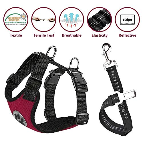 Lukovee Dog Safety Vest Harness Seatbelt, Dog Car Harness Seat Belt Adjustable Pet Harnesses Double Breathable Mesh Fabric Car Vehicle Connector Strap Dog