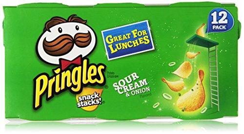 Pringles Snack Stacks Potato Crisps Chips, Sour Cream and Onion Flavored, 8.8 oz (12 Cups)