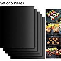 BBQ Grill Mats, 5Pcs Extsud 16 x 13 Inches Non Stick Oven Liner Teflon Cooking Mats - Perfect for Baking on Gas, Charcoal, Oven and Electric Grills - Reusable, Durable, Heat Resistant Barbecue Sheets For Grilling Meat, Veggies, Seafood