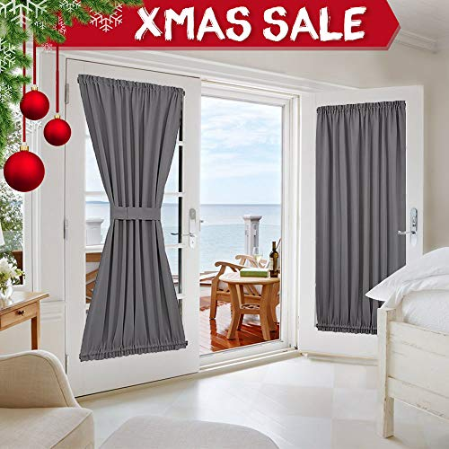 NICETOWN Grey French Door Curtains - Blackout Patio Door/Glass Door Curtain Panel for Privacy (One Piece, W54 x L72-Inch, ()