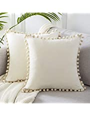 Topfinel Decorative Throw Pillow Covers with Pom-poms Soft Particles Velvet Solid Cushion Covers for Couch Bedroom Car 50 x 50 cm, Pack of 2, Cream