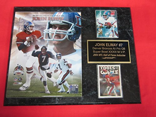 John Elway Denver Broncos 2 Card Collector Plaque #1 w/8x10 LIMITED EDITION Photo