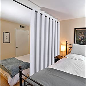 H.VERSAILTEX Sliding Glass Door Curtains Extra Wide Curtain Panels Blackout & Thermal Curtains Outside Curtains for Patio, Linen Grommet Drapes Over Size Curtains 100 by 84 Inches- Greyish White