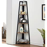 O&K Furniture 5 Shelf Industrial Corner Bookcase Shelf,...