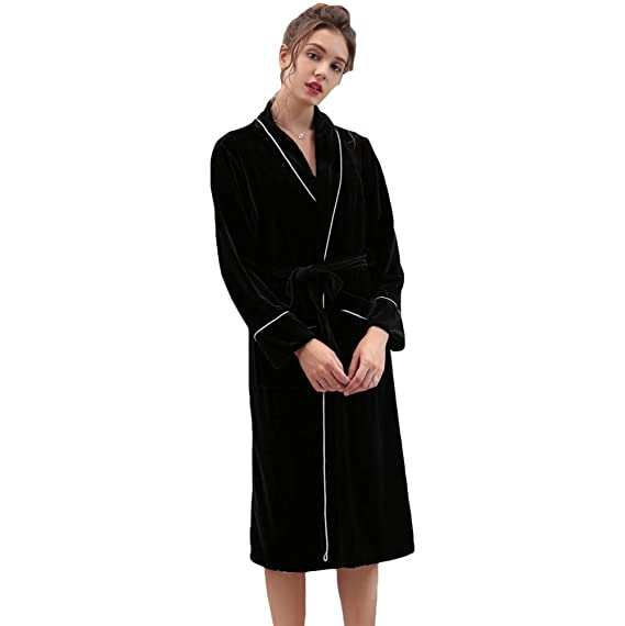 Ladies Luxury Black Bathrobe Nightwear Home Spa Hotel Long Dressing ...