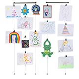 2 Pack Hanging Picture Display Photo Holder with Strings and 48 Magnetic Clips Metal Black