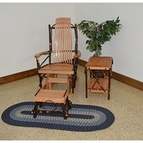 A & L Furniture Co. Amish Bentwood Hickory Glider Rocker with Foot Stool and End Table Set - Ships Free in 5-7 Business ()
