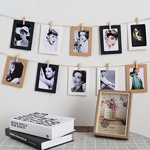 Paper Photo Frame Set with String for Instant Camera (10psc Brown Paper) by iPhyhe